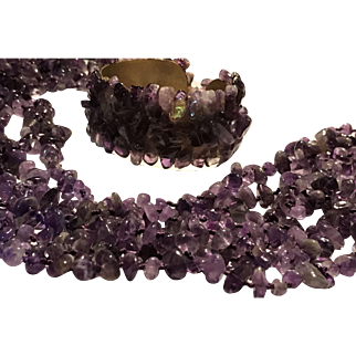 7 Strand Natural Amethyst Stone Necklace and Bracelet