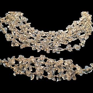 Natural Clear Quart Crystal Multi-strand Necklace and Bracelet Set.
