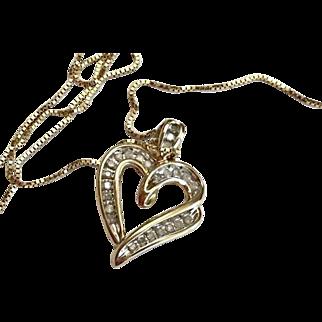 Diamond Heart Charm Pendant 10k on 14k Box Chain