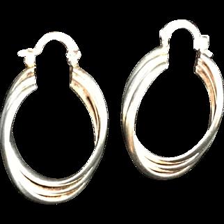 Nice Large Sterling Silver Hoop Earrings