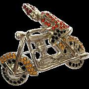1920's Rare Unsigned ORA Rhinestone Shriner on Harley Davidson Motorcycle Pin