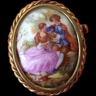 Romantic Victorian Limoge Love Couple Brooch Pin