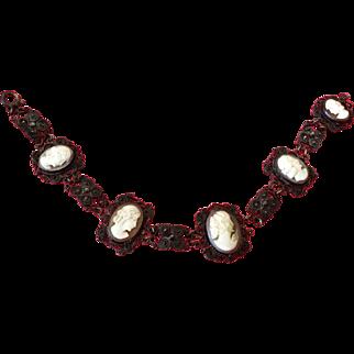 "Antique Shell Cameo Sterling Bracelet 8"""