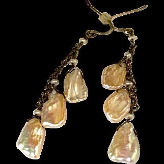 Pretty Cultured Biwa Flat Pearls on Sterling Chain Earrings