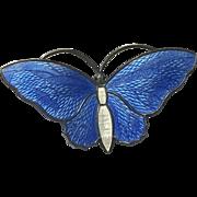 Vintage Sterling Enamel Butterfly Pin Norway