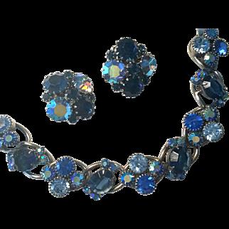 Weiss Big Beautiful Blues Bracelet with Earrings