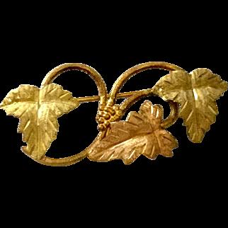 10k Bi- Color Gold Ornate Leaf Pin Brooch