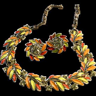 Lisner Signed Set Necklace Earrings Vintage