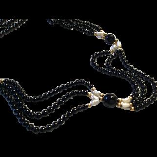 "18"" Black Onyx Cultured Freshwater Pearl 14k Clasp"