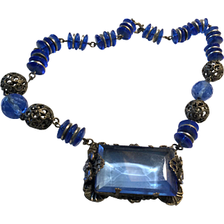 Deep Blue Glass Bead Necklace Sterling with Pendant