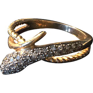 10k Gold and Pave Diamond Snake Ring 7.5