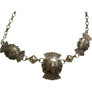 Stunning Sterling Navajo Stamped Necklace