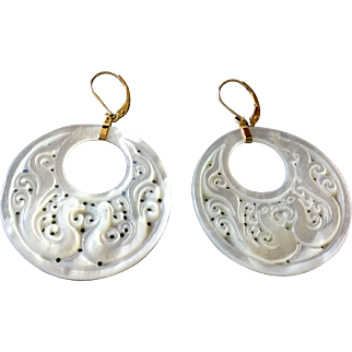 Amazing Carved White Shell Dove Earrings 14k Gold Wires