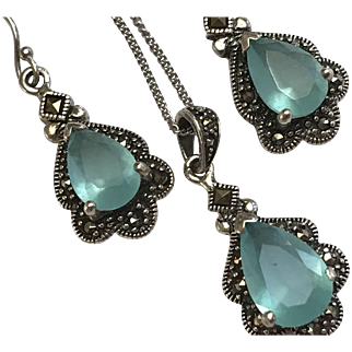 Pretty Pale Blue Stone Set Sterling Marcasites Ring and Earrings