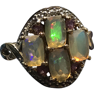 Fascinating Faceted Opal and Amethyst Ring