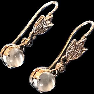 18 Karat White Gold Diamond Moonstone Dangle Earrings.
