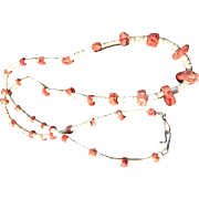 """Vintage Native American Shell Heishi Coral Sterling Clasp 34"""" Necklace"""