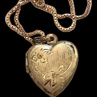 Sterling Silver Heart Locket Grandma w/ chain