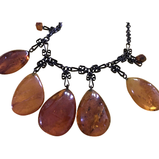 Gorgeous Natural Honey Golden Amber Drops on Festoon Necklace