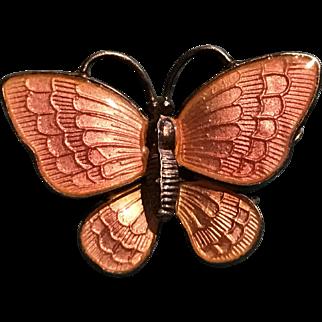 Volmer Bahner Signed Denmark Sterling Enamel Butterfly Pin