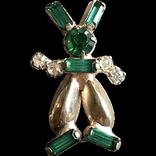 Vintage Rhinestone Figural Bunny Rabbit Pin Brooch Jewelry