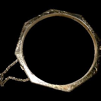 Octagon Shaped Sterling Silver Bracelet Etched w/ Safety 9.9 gms