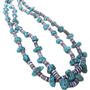 """32"""" Turquoise Nugget Heishi Double Strand Necklace"""