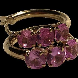 Pink Sapphire 14K Gold Hoop Earrings