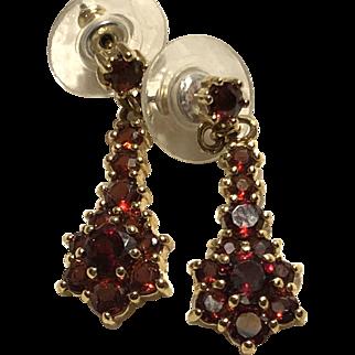 Lovely Faceted 10K Garnet Earrings for Pierced Ears Dangles