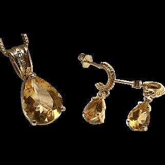 Lovely Light Golden Imperial Topaz Sm Dia. Set in 14K YG Lg Pendant Earrings