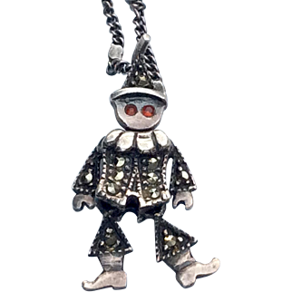 Sterling Silver Pendant Moveable Clown With Marcasites