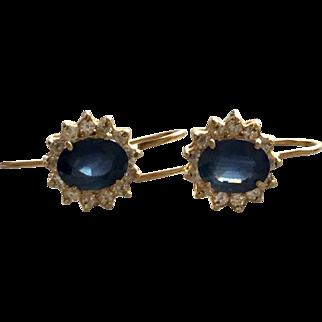 750 18Kt Earrings 1/2Ct Diamond 2Ct Sapphire European