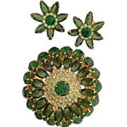 Extra Large Sparkling Rhinestone Set Earrings Brooch Green