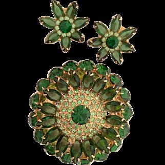 Extra Large Sparkling Rhinestone Set Earrings Brooch Green