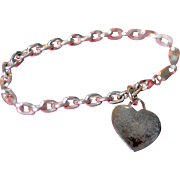 Heavy Ladies Sterling Silver Bracelet with Heart Charm