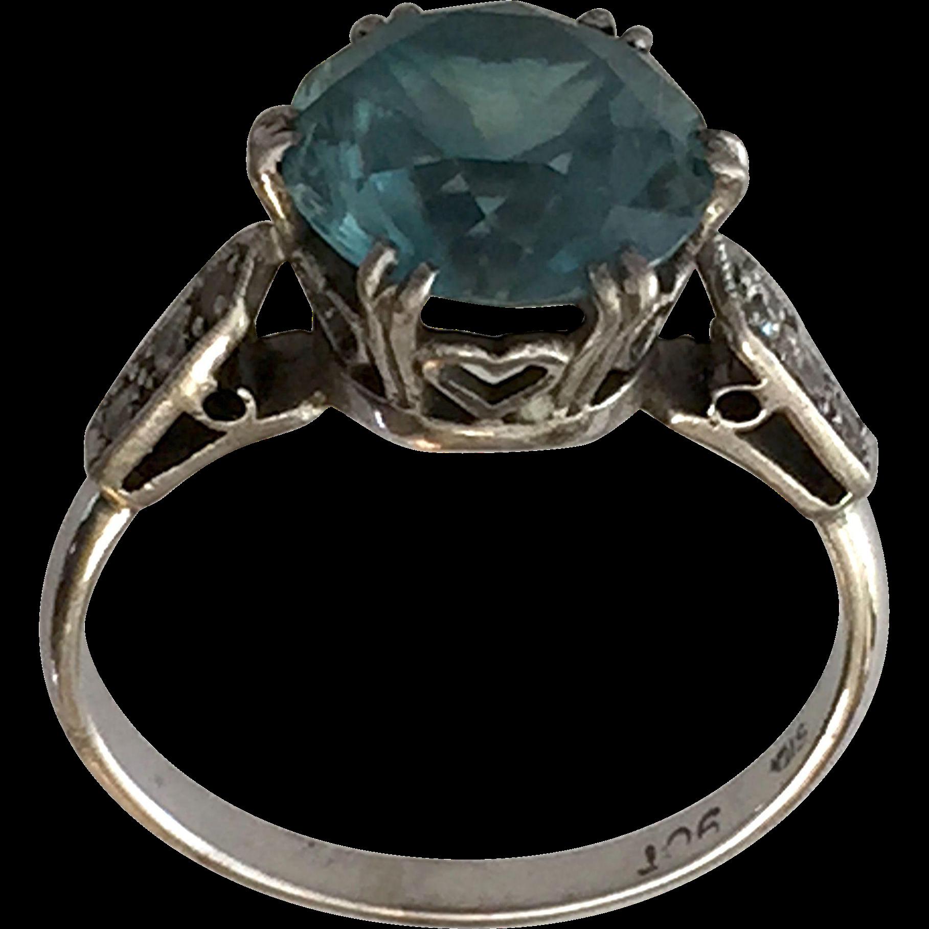blue zircon white gold ring sz 8 diamonds from
