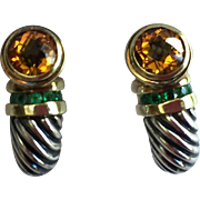 David Yurman Sterling Silver 14k Gold Citrine Emeralds Earrings. - Red Tag Sale Item