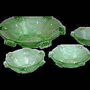Superb Vintage Art Deco Stolzle Glass Hermanova Hut Fruit Bowl Set