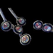 Set Large Chaton Rhinestone Necklace Earrings Stunning