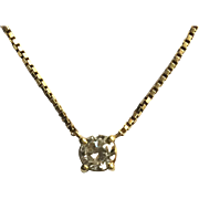 18k Yellow Gold 1/4Ct Natural Diamond Necklace