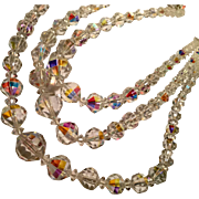 Top Quality 3-Strand Aurora Borealis Crystal Faceted Necklace