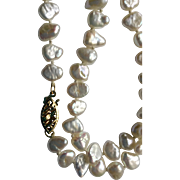 """18"""" Cultured Freshwater Baroque Coin Pearl Necklace w/ 14Kt Clasp"""