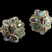 Breathtaking Runway Clip Earrings Faceted Aurora Borealis Beads
