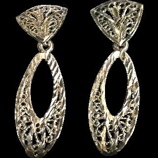 Sterling Silver Filagree Dangle  Earrings Pierced