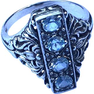 Sterling Silver Pale Blue Topaz Ornate Ring Size 6.5