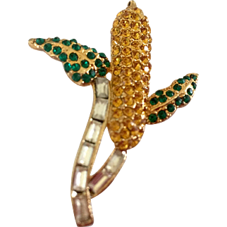 Vintage Rhinestone Corn Pin Brooch Jewelry