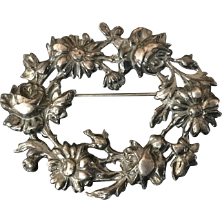 Sterling Silver Ornate Floral Pin Gorgeous