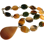 """Polished Agate Stone Necklace with Pendant 28"""""""