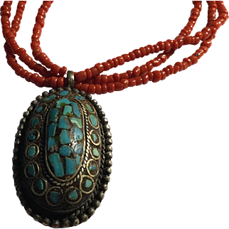 3 Strand Red Coral Bead Necklace with Turquoise Pendant