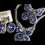 Beautiful Blue Rhinestone Butterfly Set Necklace Pin Earrings
